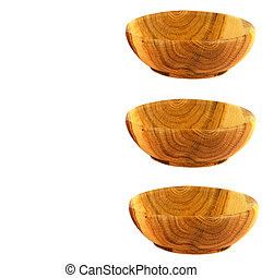 Wooden empty plates isolated on white background. Collage. Free space for text.