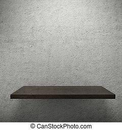 Wooden empty shelf for exhibit.