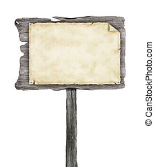 Wooden empty sign with blank paper, isolated on white ...