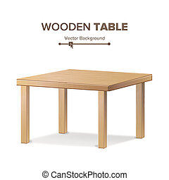 Wooden Empty Square Table. Isolated Furniture, Platform. ...