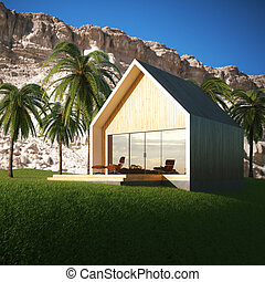 Wooden energy efficient house on the nature in the tropical forest. 3D render