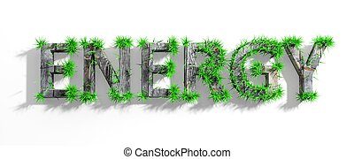 Wooden Energy word with green grass growth isolated