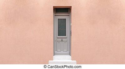 Wooden entrance door, beige color wall background,...