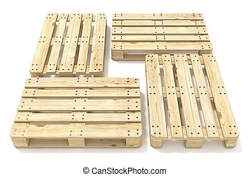 Wooden Euro pallets. Side view. 3D