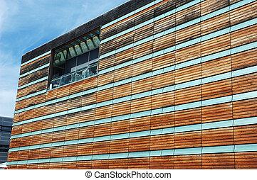 Wooden Facade of a modern Office Building
