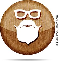 wooden face with glasses, mustaches and beard