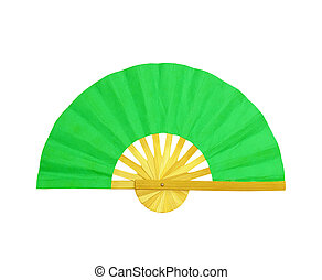 Wooden fan on the white background