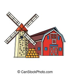 wooden Farm barn and windmill design