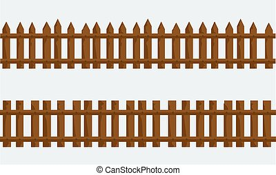 Wooden Farm Fence. Vector with flat and solid color