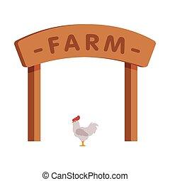 Wooden Farm Gate Cartoon Vector Illustration on White Background