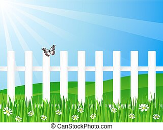 wooden fence and butterfly