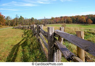 Wooden fence and field in the mountains