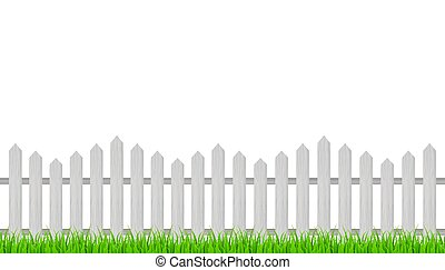 Wooden fence and grass. Vector stock illustration.