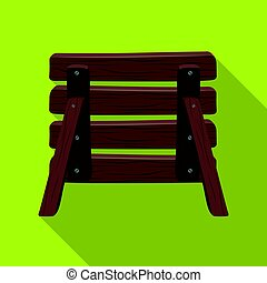 Wooden fence, barikadda. Paintball single icon in flat style vector symbol stock illustration web.