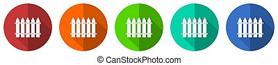 Wooden fence, barrier vector icon set, red, blue, green and orange flat design web buttons isolated on white, vector illustration