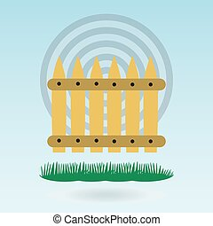 Wooden fence. Grass concept.