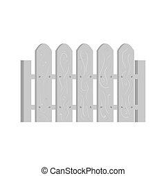 Wooden fence icon, black monochrome style