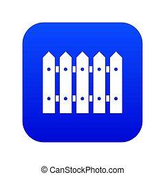 Wooden fence icon digital blue