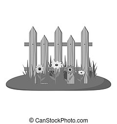 Wooden fence icon, gray monochrome style