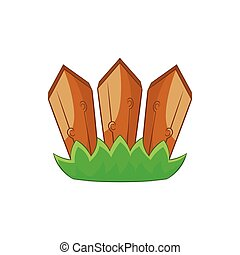 Wooden fence icon in cartoon style