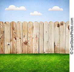 Wooden fence in a green grass, template design