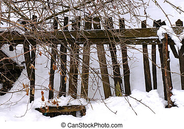 Wooden Fence in a winter landscape