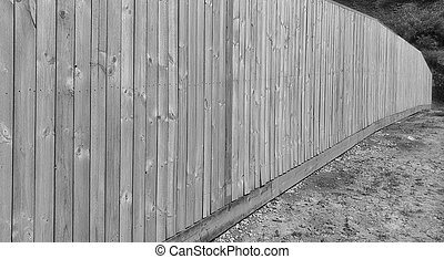 Wooden fence in black and white