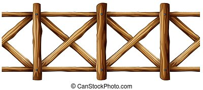 Wooden fence in simple design illustration