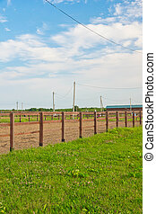 fence in the countryside in summer