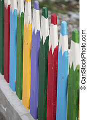fence in the form of colored pencils