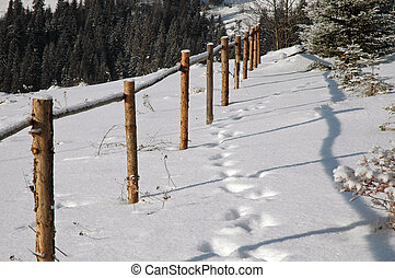 Wooden fence in the mountains at winter
