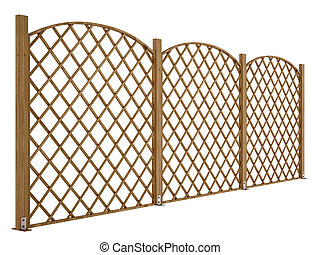 wooden fence, isolated on a white background