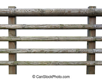 Wooden fence isolated over white