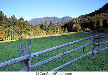 wooden fence on a field