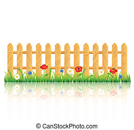 Wooden fence on grass with flowers