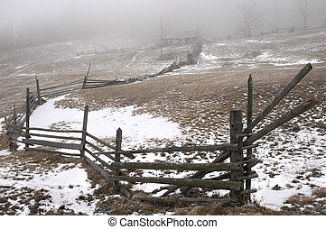 Wooden fence on mountains