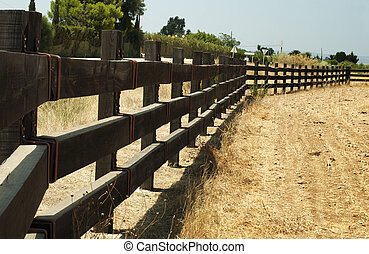 Wooden fence on ranch used for horse containment