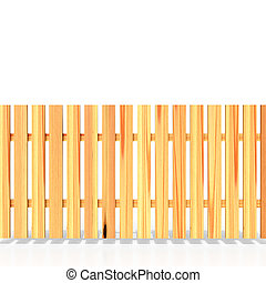 Wooden fence on white background, 3D rendering