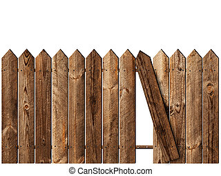 wooden fence over the white backgroynd