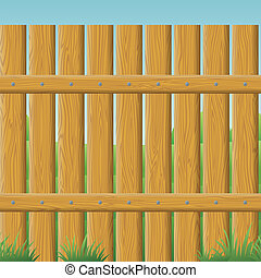 Wooden fence, seamless - Natural wooden fence wall and...