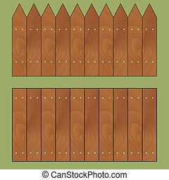 Wooden fence set vector