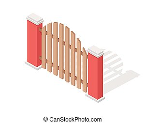 Wooden Fence Vector In Isometric Projection