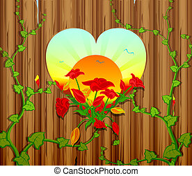 wooden fence with a carved heart an