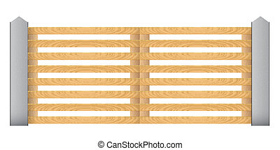 Wooden fence with concrete columns on a white background. Gates.