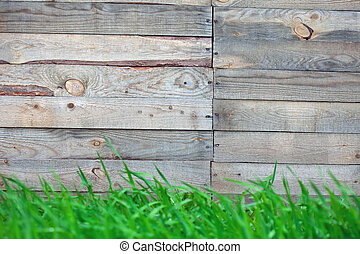 wooden fence with  grass