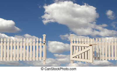 open gate to paradise - wooden fence with open gate to...