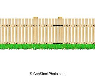 Wooden fence with the door