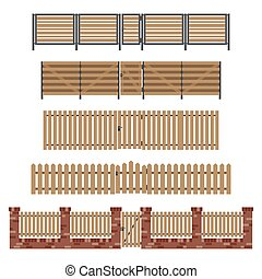 Wooden fences and gates.