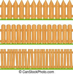 Wooden fences, vector illustration