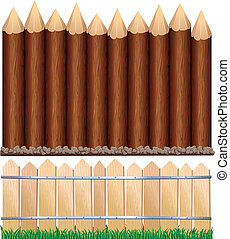 Wooden Fences - Illustration of rural wooden fence and log...